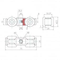 Система для раздвижных дверей (направляющая с комплектом роликов)